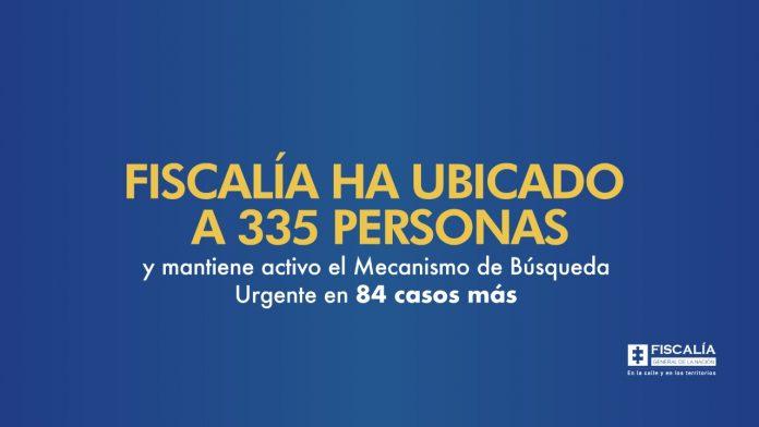Fiscalía ha ubicado a 335 personas y mantiene activo el Mecanismo de Búsqueda Urgente en 84 casos más - Noticias de Colombia